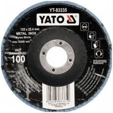 Šlifavimo diskas lapelinis išgaubtos formos mėlynas 125mm P100 INOX