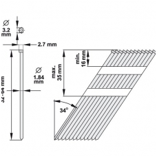 Vinys viniamūšiui 34°, 50 mm x 1000 vnt