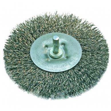 Šepetys vielinis plieninis disko tipo, plokščias su kotu 100 mm