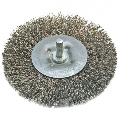 Šepetys vielinis plieninis disko tipo, plokščias su kotu 100 mm 2