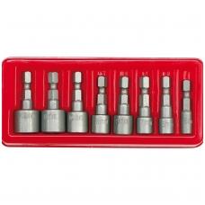 """Antgalių-galvučių rinkinys 8vnt, 1/4""""(6.3mm) 5-13 mm"""