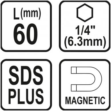 """Antgalių laikiklis SDS  vidinis šešiakampis (1/4"""") 60mm. 4"""