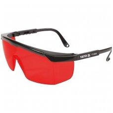 Apsauginiai akiniai raudoni darbui su lazeriais