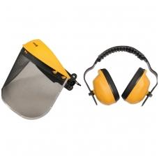 Apsauginis tinklinis skydelis veidui su ausinėmis komplektas