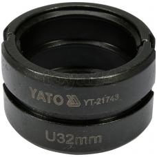 Atsarginis indėklas U 32 mm presavimo replėms YT-21735