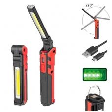 Darbo lempa akumuliatorinė - 3W LED - 150LM + 5W COB LED - 360LM