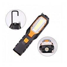 Darbo lempa akumuliatorinė 5W COB LED USB 280+80 LM su magnetiniu griebtuvu