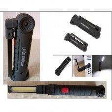 Darbo lempa akumuliatorinė aluminis +ABS+Guma 3W COB, USB