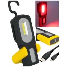 Darbo lempa akumuliatorinė + raudona šviesa - Li-Ion COB LED - USB