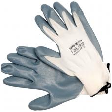Darbo pirštinės baltos  nailonas - poliuretanas 10 dydis