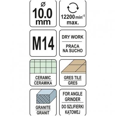 Deimantinė karūnėlė - kampiniam šlifuokliui - M14 - 10 mm 4