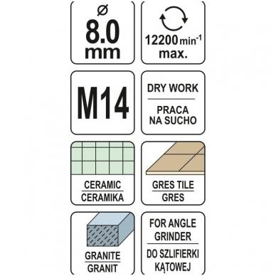Deimantinė karūnėlė - kampiniam šlifuokliui - M14 - 8 mm 4