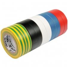 Izoliacinių įvairiaspalvių juostų rinkinys 10 vnt: 19mmx20mx0,13mm