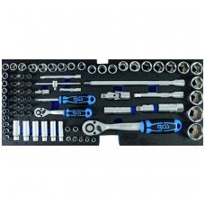 """Galvučių ir įrankių rinkinys 1/2""""+ 1/4"""" 77 vnt. iš BGS 3312 ir 3318 su padėklu"""