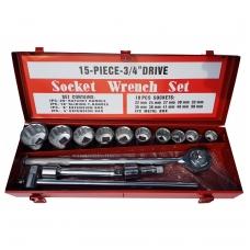 """Galvučių komplektas 3/4"""", 12-kampų, 22-50 mm, metalinė dėžė, 15 vnt."""