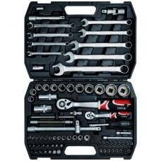 """Galvučių, raktų ir įrankių rinkinys 1/2"""" + 1/4"""" 82 dalių"""