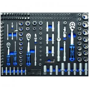 """Galvučių ir raktų rinkinys 1/4""""+3/8""""+1/2"""", 192vnt. su padėklu į spintelę 3/3"""