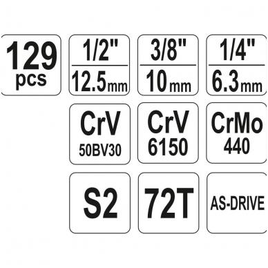 Galvučių, replių, raktų ir kitų įrankių XXL komplektas 129 dalių 6