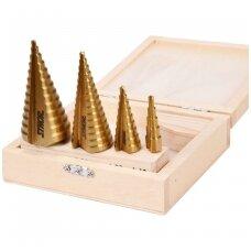 Grąžtai skylės (pa)platinimui pakopiniai 4-12, 4-20, 4-32, 4-39mm. 4vnt.