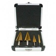 Grąžtai skylės (pa)platinimui pakopiniai aliuminė dėžutė 4-32mm. 4vnt.