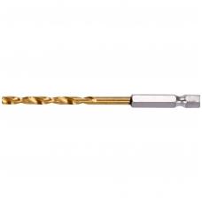 """Grąžtas metalui su Hex 6.3 mm (1/4"""") galu HSS-TiN  4.5 mm"""