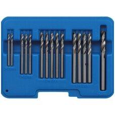 Grąžtų rinkinys kniedžių skylėms HSS 2.4 - 6.4mm. 15vnt.