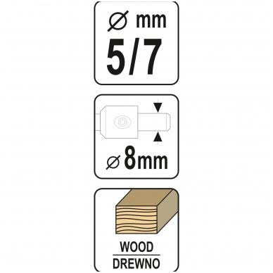Grąžtas freza medžiui - baldų varžtams - 5-7 mm 5