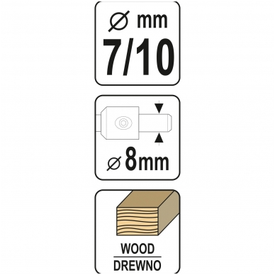 Grąžtas-freza medžiui- baldų varžtams , 7-10 mm 5