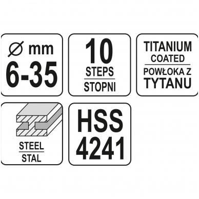 Grąžtas skylės (pa)platinimui pakopinis - 6-35 mm 4