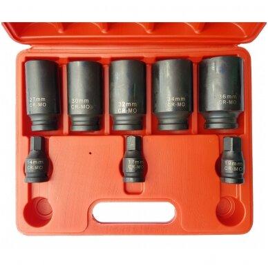 Ilgų galvučių rinkinys pusašiams 12 kampų 27-36mm. 8vnt.