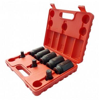 Ilgų galvučių rinkinys pusašiams 12 kampų 27-36mm. 8vnt. 2