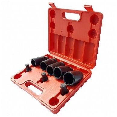 Ilgų galvučių rinkinys pusašiams 12 kampų 27-36mm. 8vnt. 3