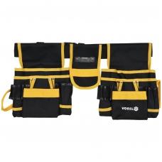 Įrankių diržas su dviem slankiojančiomis mentėmis ir kišenėmis