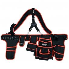 Įrankių diržas su petnešomis ir kišenėmis