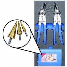 Įrankių rinkinys į vežimėlius-pakopinės frezos 3vnt. žirklės skardai 2vnt.