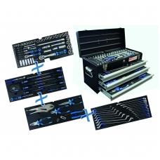 Įrankių rinkinys su metaline dėže | 3 stalčiai | 143 įrankiai