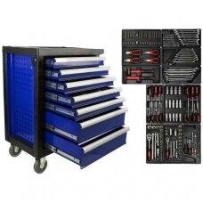 Įrankių spintelė ant ratukų su įrankiais 7 stalčiai