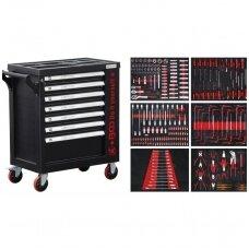 Įrankių spintelė ant ratukų su įrankiais, 7 stalčiai,1 šoninės durys, 250vnt.
