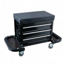 Įrankių spintelė - kėdutė su 3 stalčiais ir atlenkiamais 2 dėklais - lentynomis