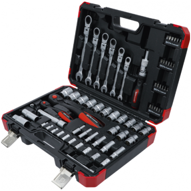 """Įrankių rinkinys 6.3mm (1/4"""") 12,5mm (1/2"""") Terkšliniai raktai, 68vnt. 3"""