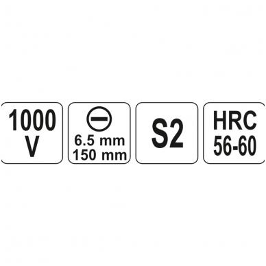 Izoliuotas atsuktuvas elektrikui 1000V 6,5x150 mm 3
