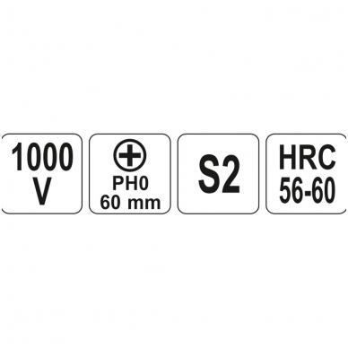 Izoliuotas atsuktuvas elektrikui 1000V PH0x60 mm 2