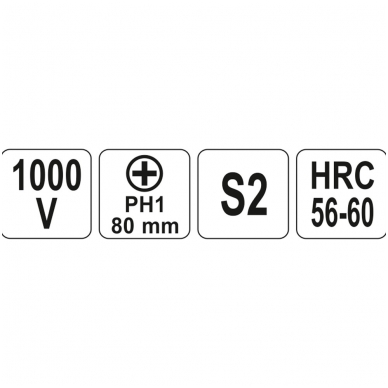 Izoliuotas atsuktuvas elektrikui 1000V PH1x80 mm 2