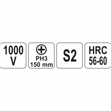 Izoliuotas atsuktuvas elektrikui 1000V PH3x150 mm 3