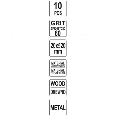 Juosta pneumatiniam šlifuokliui P60 20X520mm, 10 vnt. 4