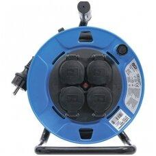 Kabelinė ritė 25m. 3 x 1,5mm²  4 lizdai su sandarinimo dangteliu IP 44  3500W