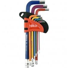 L tipo raktų rinkinys šarnyriniai spalvoti, S2 hex šešiakampis 1,5-10mm.