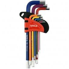 L tipo raktų rinkinys spalvoti, S2 hex šešiakampis 1,5-10mm. 9vnt.