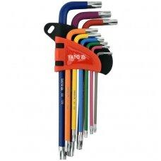 L tipo raktų rinkinys spalvoti, S2 T-Star (Torx) T10-T50 9vnt.