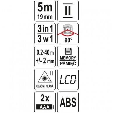 Lazerinis atstumo matuoklis 40m. su rulete 5m. 5